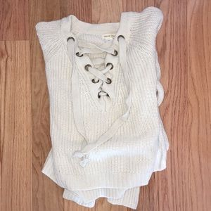 Thirty one boutique lace up sweater cream